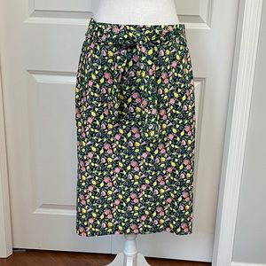 1901 Blue/Green Citrus Fruit Pattern Pencil Skirt